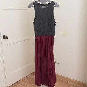 NWOT LOFT charcoal grey/maroon sleeveless dress